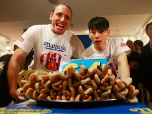 Nathan's Hot Dog Eating Contest Champions Attend Official Weigh-In
