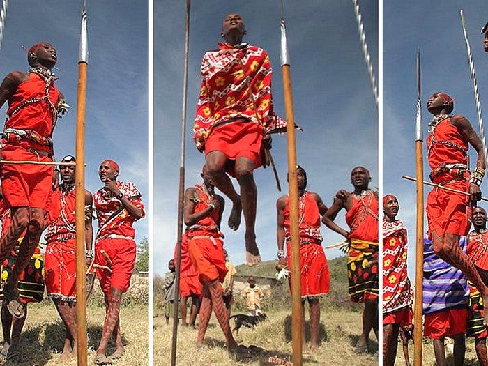 Танцы мужчин племени масаи