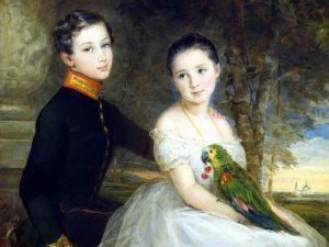 Дети с попугаем