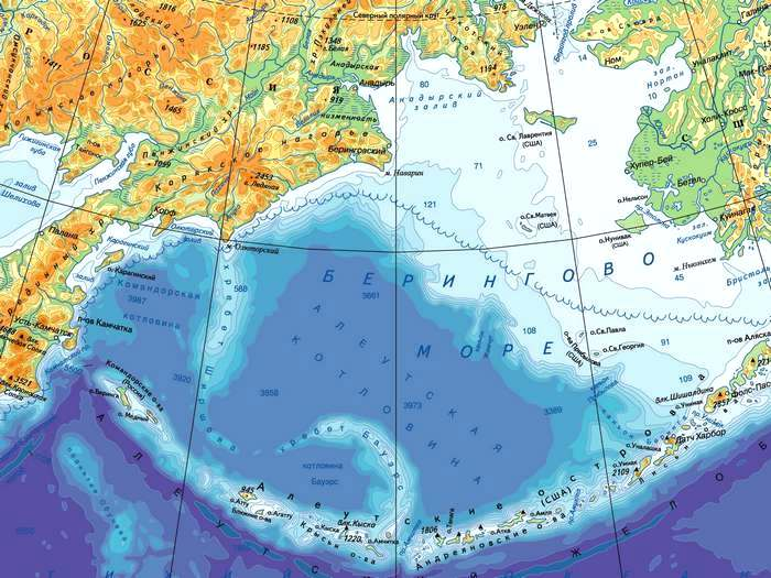 Карта Берингова моря