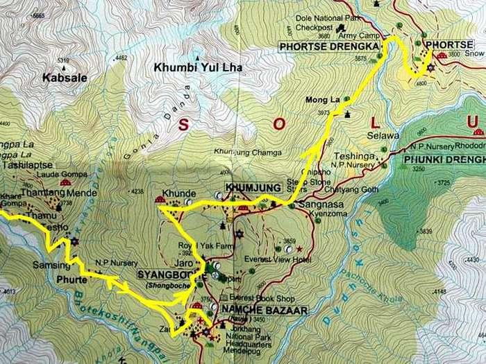Карта района Намче Базар