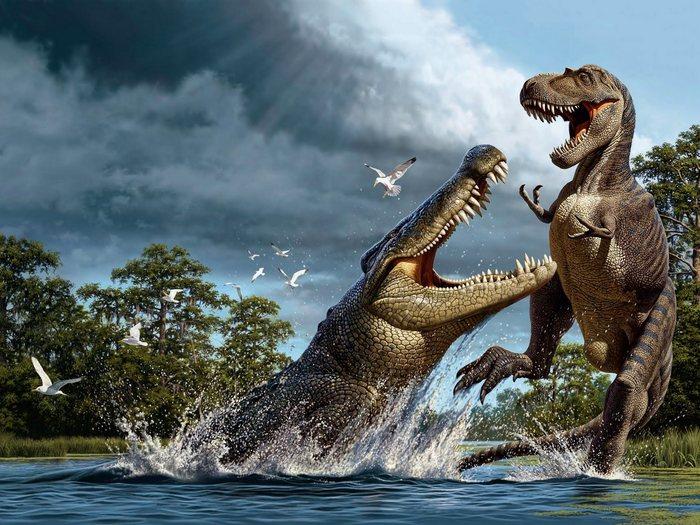 Аллигатор и динозавр